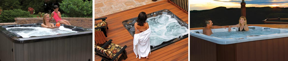 3 different PDC Spas hot tubs